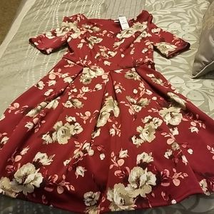 WHBM floral deep red floral dress sz 6 NWT